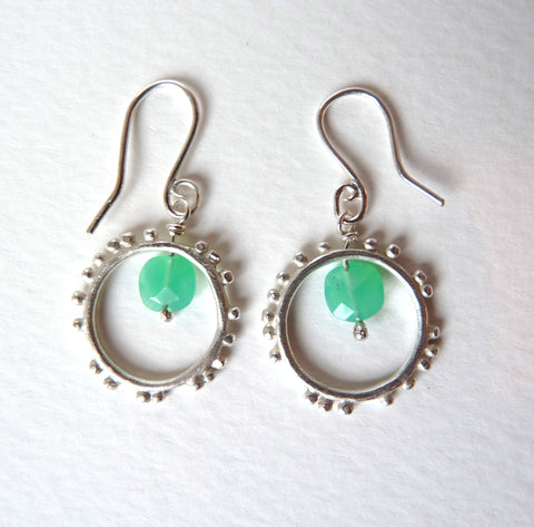 Granulation Hook Gemstone Earrings