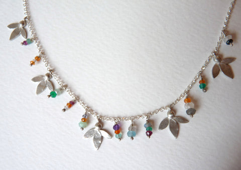 Ami Leaves Gemstone Necklace