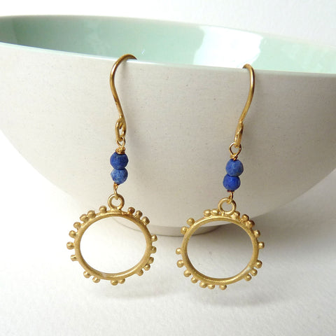 Granulation Medium Hook Earrings With Gemstone