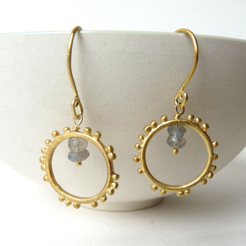 Granulation Hook Gemstone Earrings With Gold Plate