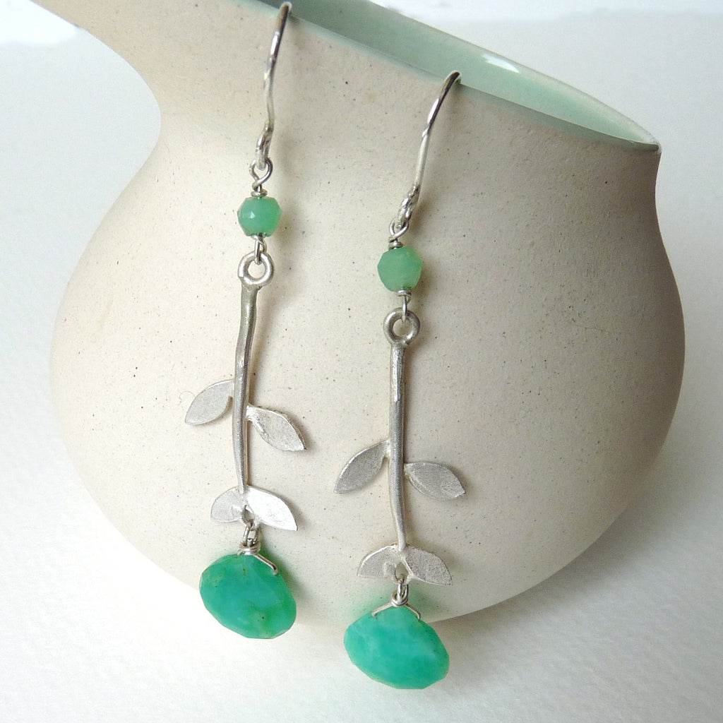 Tabatha Leaf Earrings With Hook And Gemstone