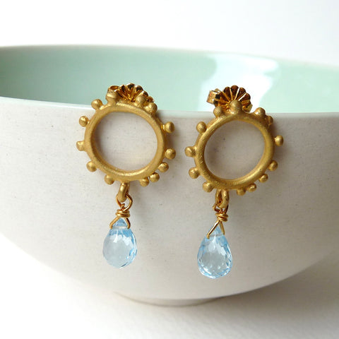 Small Granulation Studs With Gemstone Drop