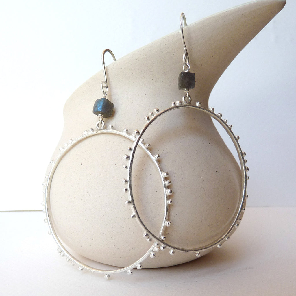 Granulation Large Hoop Earrings With Gemstone