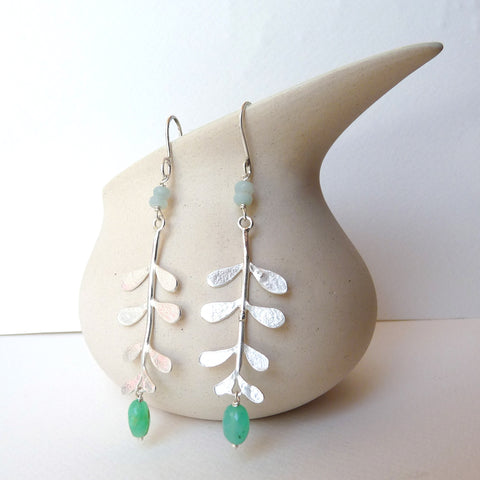 Evie Leaf Earrings with gemstone