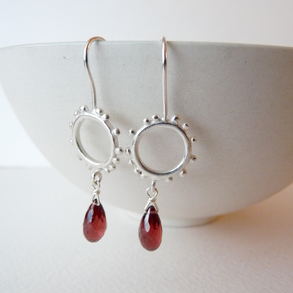 Small Silver Granulation Hooks With Gemstone Drop