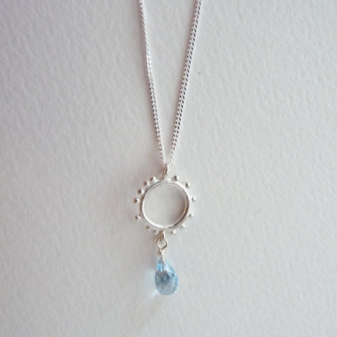 Granulation pendant with Gemstone Drop