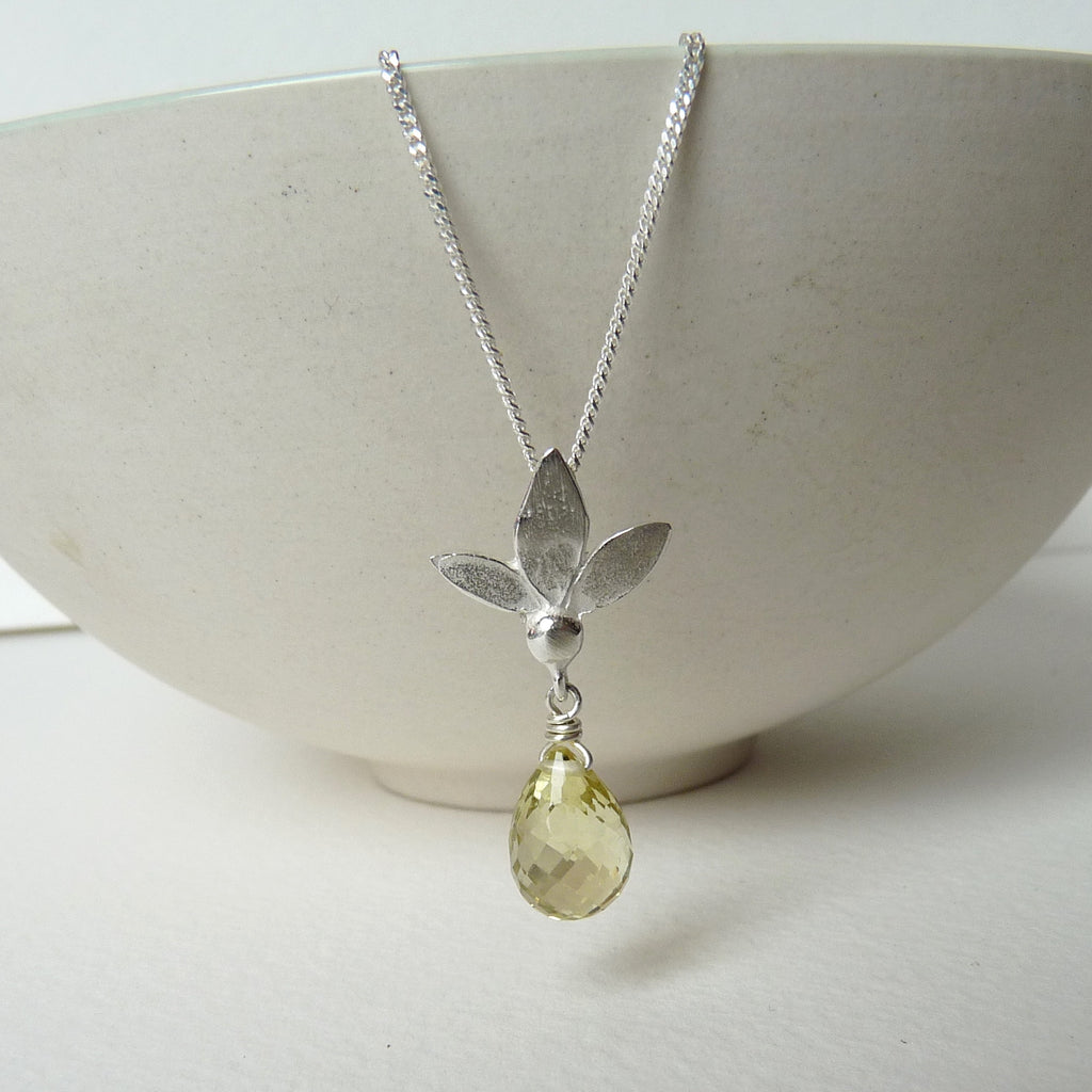 Ami Leaf Pendant With Gemstone Drop