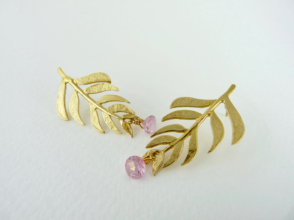 Kiki Leaf Earrings with Pink Topaz drops
