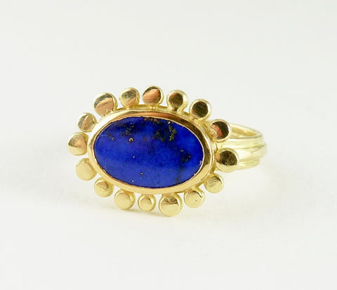 18ct gold Lapis Lazuli Courtesan ring