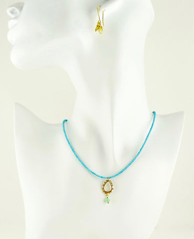 Turquoise and granulation drop pendant necklace