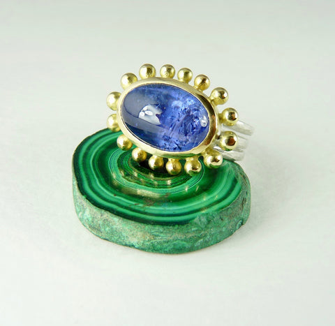 Large Cabochon Tanzanite Courtesan Ring