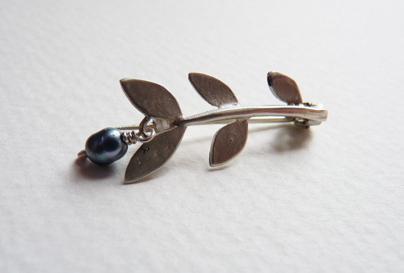 Blossoming, Branch, Sterling, Silver, Leaf, brooch, Jewellery, Jewelry, Handmade, semi, precious, grey, pearl, nature