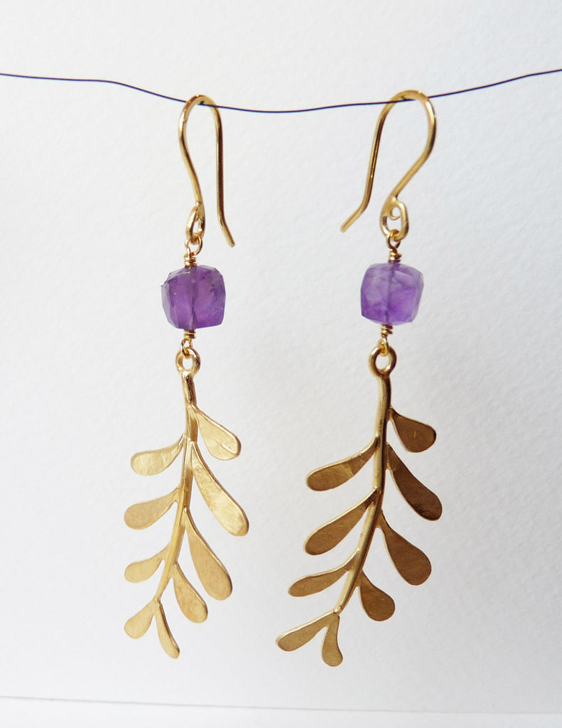 Blossoming, branch, jewellery, jewelry, earrings, hook, hooks, sterling, silver, 18ct, gold, nature, natural, amethyst
