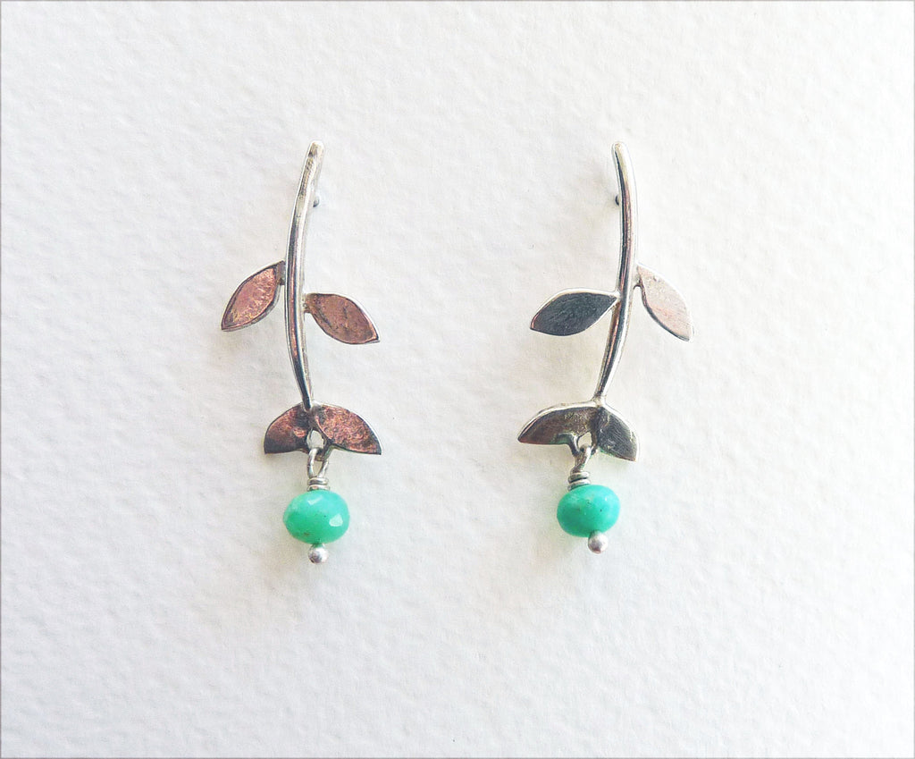 Blossoming, branch, jewellery, jewelry, earrings, studs, sterling, silver, 18ct, gold, nature, natural, leaf, leaves, chrysoprase