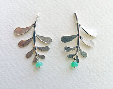 Marni Leaf Stud Earrings with gemstone drop
