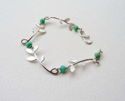 Lila Leaf and Chrysoprase bracelet