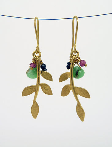Gold Plated Eloise Leaf Earrings with gemstone cluster