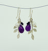 Blossoming, branch, jewellery, jewelry, earrings, hook, hooks, sterling, silver, 18ct, gold, nature, natural, amethyst, black, spinel, chrysoprase, green, onyx, pearl, rhodolite, garnet