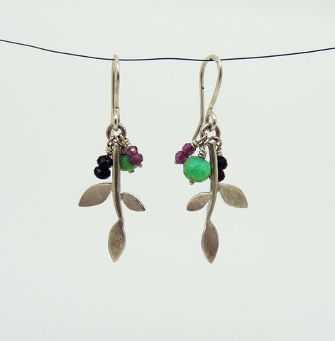 Lola Leaf Earrings with gemstone cluster