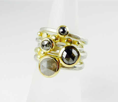 Rose Cut Black Diamond Ring in 18ct Gold and Silver