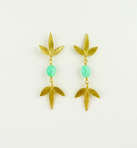 Double Claudia Flower Earrings with Chrysoprase