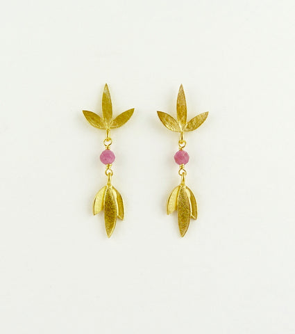 Claudia and Martha Flower Earrings with Pink Tourmaline