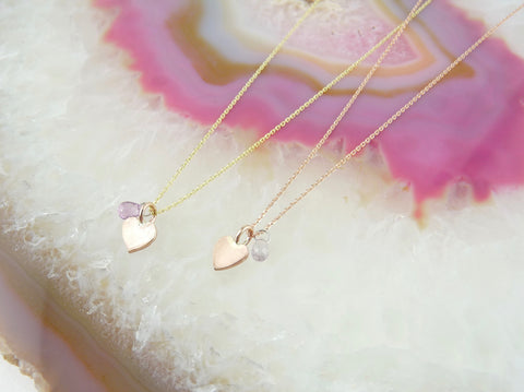 Yellow and Rose Gold Delicate Heart Necklace with Pink Sapphire Briolette