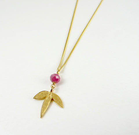 Claudia Flower Necklace with Pink Tourmaline