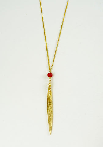 Medium Madeleine Leaf Necklace with Red Coral