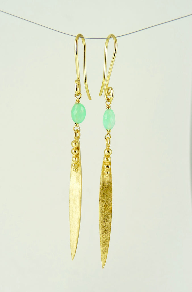 Medium Madeleine Leaf Earrings With Chrysoprase