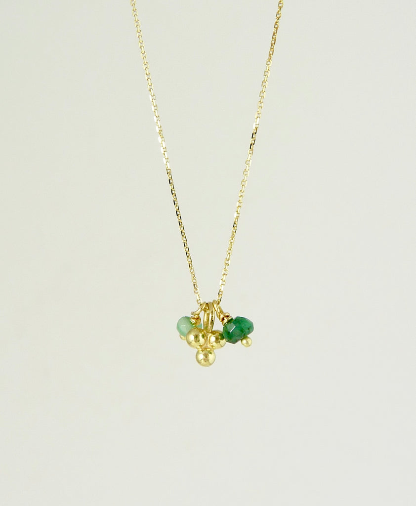 Delicate Granulation Necklace with Emerald