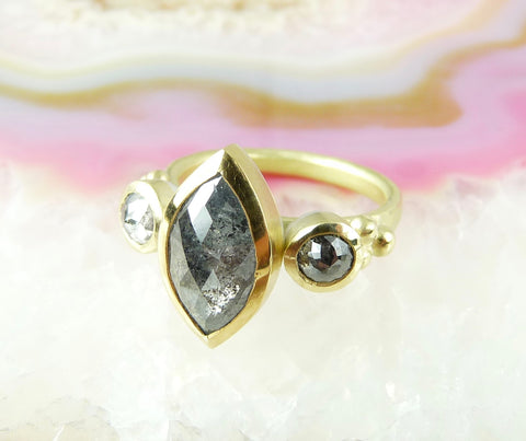 Marquise Salt and Pepper Diamond Ring