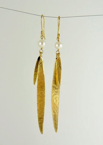 Lily Long Double Leaf Earrings with Fresh Water Pearls