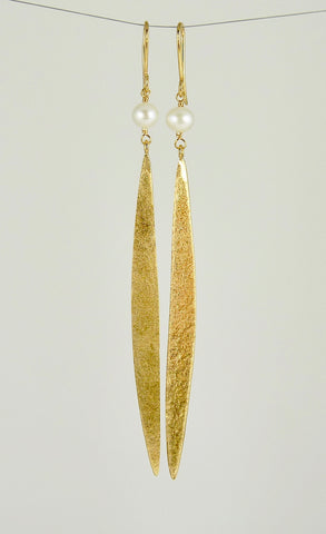 Lily Long Single Leaf Earrings with Fresh Water Pearls