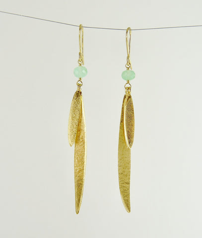 Lily Long Double Leaf Earrings with Chrysoprase
