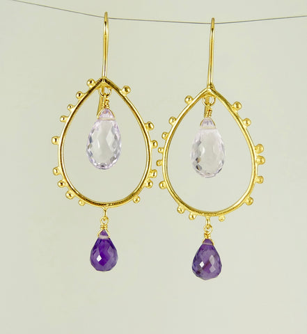 Gorgeous Granulation Drop Earrings with Amethyst