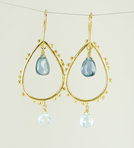 Gorgeous Granulation Drop Earrings with Topaz