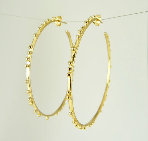Large Granulation Gypsy Hoop Earrings