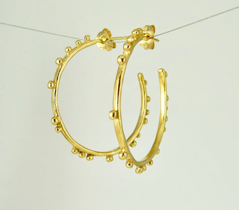 Medium Granulation Gypsy Hoop Earrings
