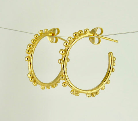 Small Granulation Gypsy Hoop Earrings