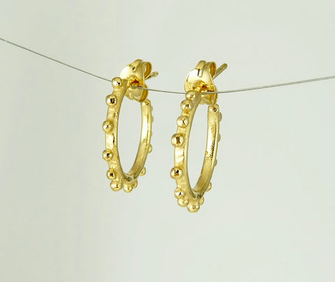 Tiny Granulation Gypsy Hoops in 18ct gold plate As seen in Style Magazine