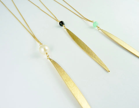Single Lily Long Leaf Necklace
