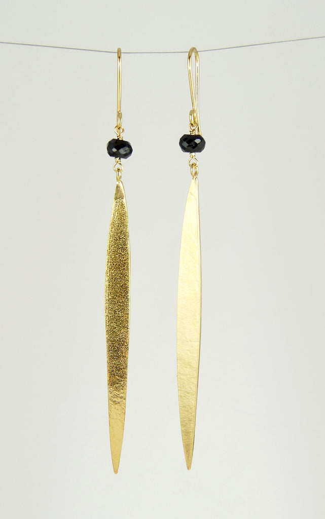 Lily Long Single Leaf Earrings with Black Spinel