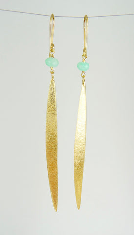 Lily Long Single Leaf Earrings with Chrysoprase