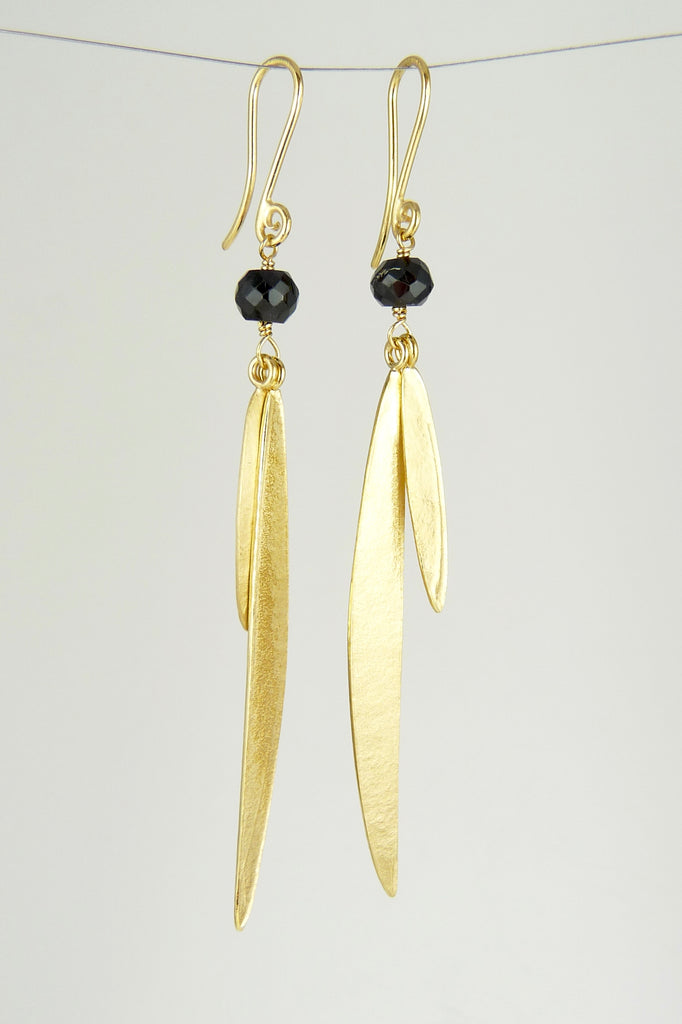 Lily Long Double Leaf Earrings with Black Spinel