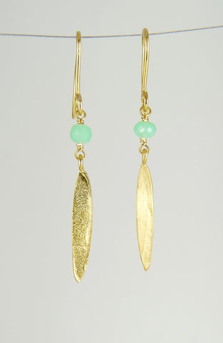 Small Lily Long Leaf Earrings with Gemstones