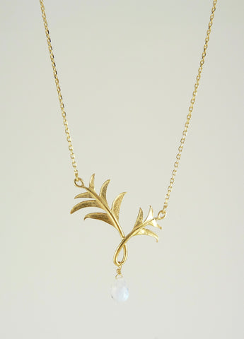 Paloma Palm Tree Necklace with Moonstone