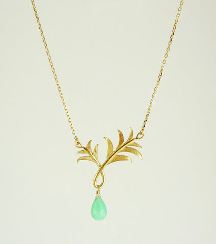 Paloma Palm Tree Necklace with Chrysoprase