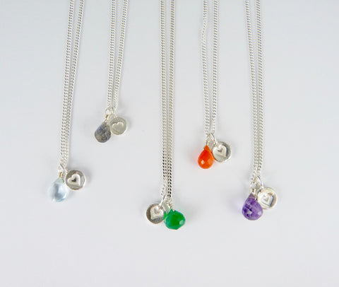 Valentine Silver Heart and Gemstone Necklace