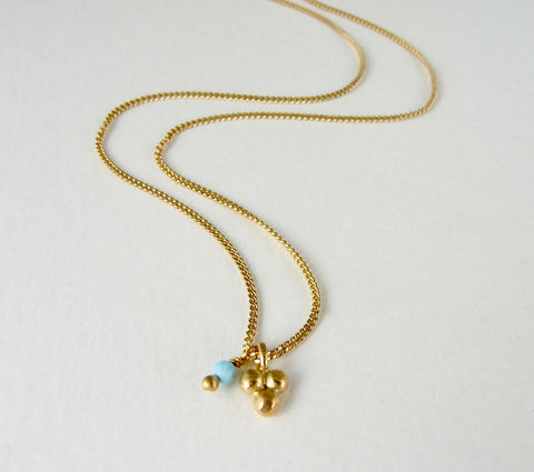Delicate Triple Granulation Necklace with Turquoise